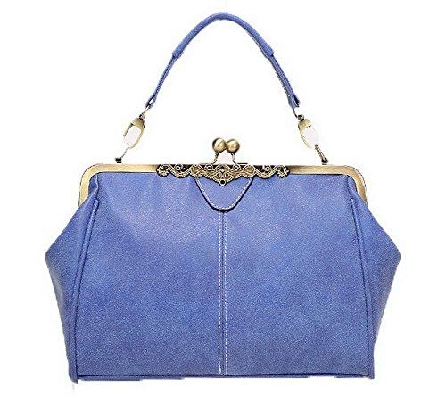 Bags Women Blue Shoulder Folded Fashion Handbags Casual Agoolar Buckle Pu PxvqzB