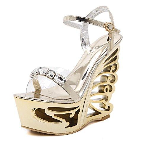 Señoras Mujer Nuevo en forma de super tacón alto talón correa sandalias zapatos peep toe plataforma de primavera primavera Club Party Nightclub Oro