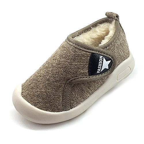 Z-T FUTURE Baby Boys Girls Snow Boots Double Velcro Kids Causal Winter Shoes With Warm Fleece (5 M US Toddler, Khaki-811) (811 Dark Khaki Color)