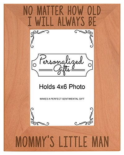ThisWear Mother Son Picture Frame I'll Always Be Mom's Little Man Dad Birth Announcement Gifts Natural Wood Engraved 4x6 Portrait Picture Frame Wood - Glass Son Photo Frame