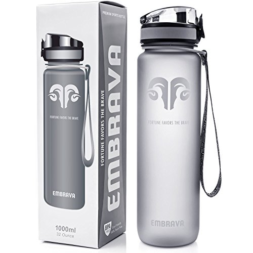 Liter Water Bottle - Embrava Best Sports Water Bottle - 32oz Large - Fast Flow, Flip Top Leak Proof Lid w/One Click Open - Non-Toxic BPA Free & Eco-Friendly Tritan Co-Polyester Plastic
