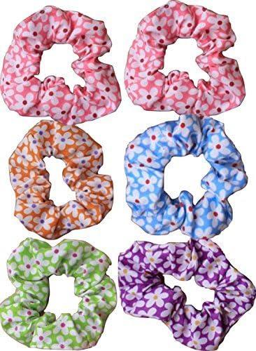 Pack de 6 Floral algodón pelo Scrunchies Daisy impresión (envío ...