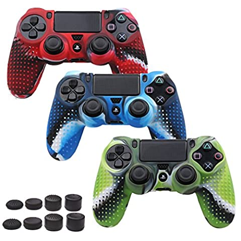 Pandaren STUDDED Anti-slip Silicone Cover Skin Set for PS4 /SLIM /PRO controller(controller skin x 3 + FPS PRO Thumb Grips x (Xbox 360 Aluminum Triggers)