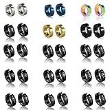 15 pairs Non-pierced Stainless Steel Mens Womens Ear Clip Hoop Earrings Butterfly,Dragon,Love,Cross,Amaterasu,Scorpion,Pentagram,Skull Earrings Studs