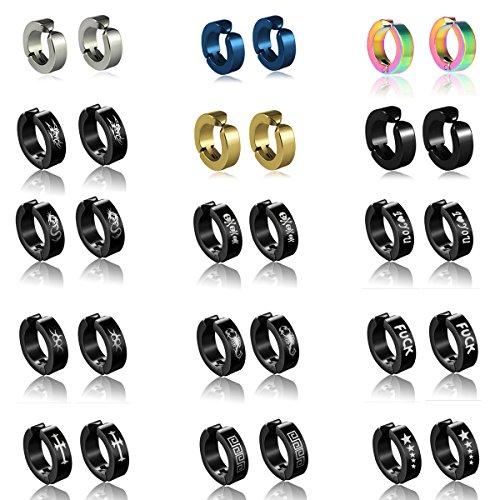 (15 pairs Non-pierced Stainless Steel Mens Womens Ear Clip Hoop Earrings Butterfly,Dragon,Love,Cross,Amaterasu,Scorpion,Pentagram,Skull Earrings Studs)