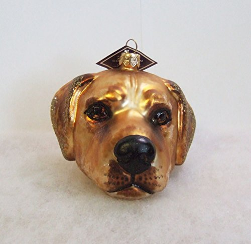 Slavic Treasures DOG083003 Yellow Lab Head Blown Glass Ornament