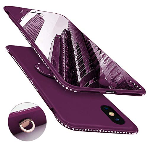 Newseego Compatible with iPhone Xs Max Case Glitter Cute Phone Case with 360° Rotation Bling Diamond Rhinestone Bumper Ring Stand for iPhone Xs Max-Purple
