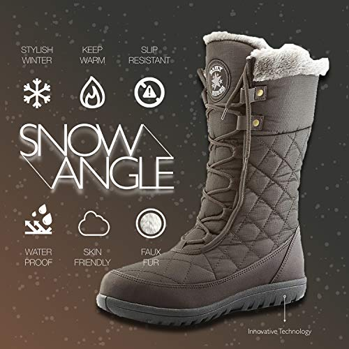 Round DailyShoes Mid Women's Winter Fur High Brown Boots Flat Toe Comfort Calf Eskimo Ankle Snow qqyEvIrF