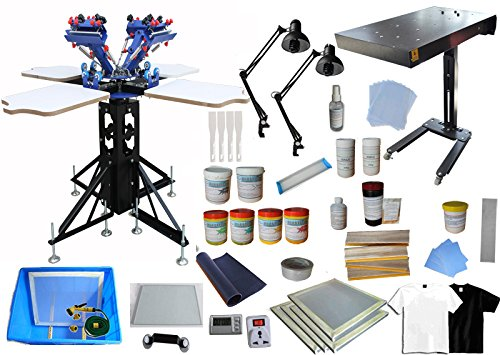 4 Color 4 Station Screen Printing Kit C with Flash Dryer and Plastisol Ink- 006963 by Screen Printing Kit