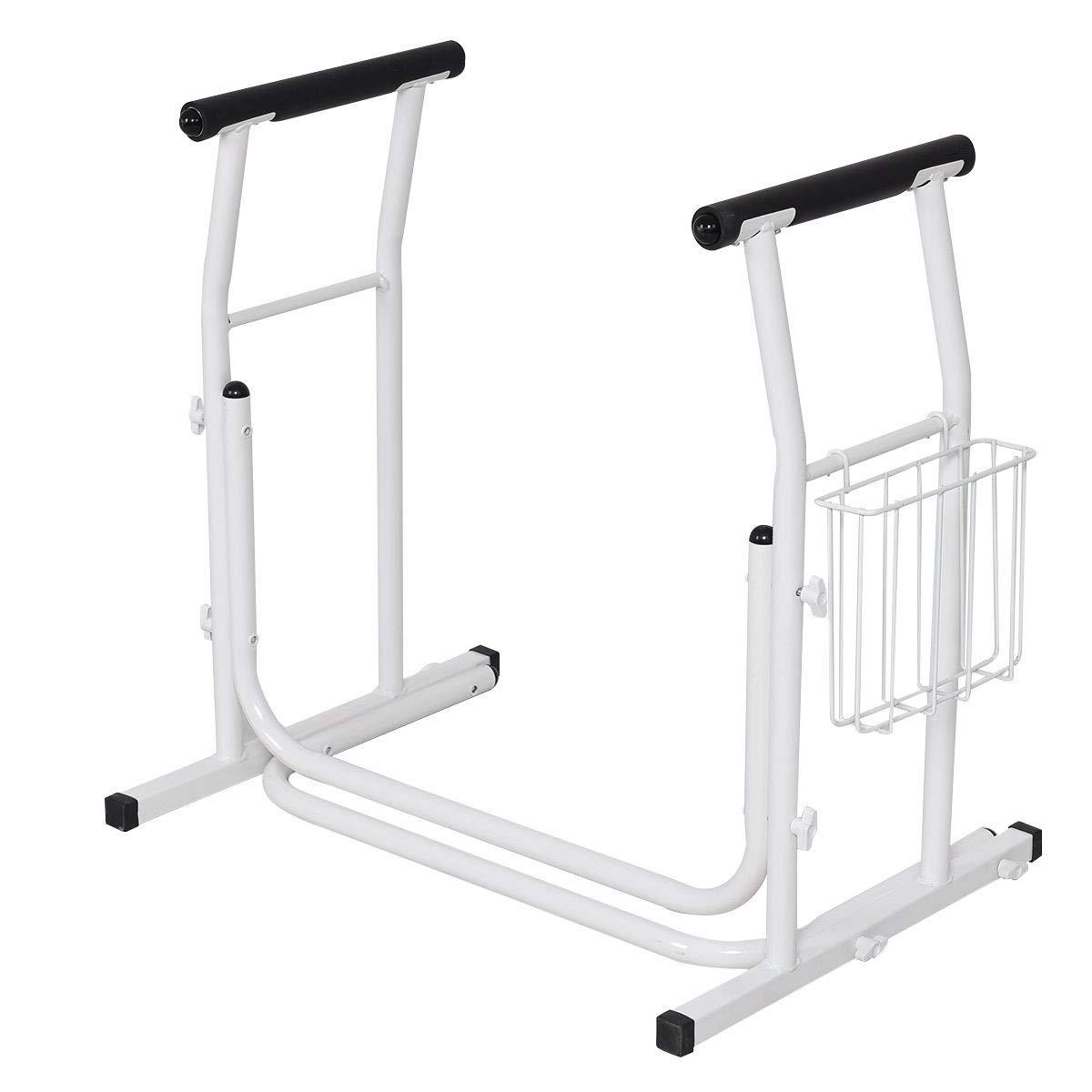 USA_Best_Seller White Medical Free Standing Toilet Safety Padded Armrest Freestanding Baby Handicap Elderly Trainer Comfortable New Durable