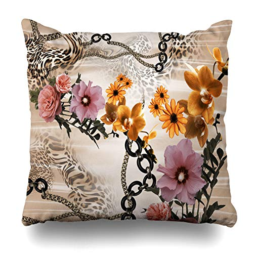 Pakaku Decorativepillows Case Throw Pillows Covers for Couch/Bed 16 x 16 inch, Leopard Home Sofa Cushion Cover Pillowcase Gift Bed Car Living Home Hidden Zipper Design Cotton and Polyester - Baroque Golden Chain 50