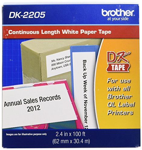 Brother Continuous 2.4 in x 100 ft (62mm x 30.4m) Paper Label Roll (DK-2205) - Retail Packaging