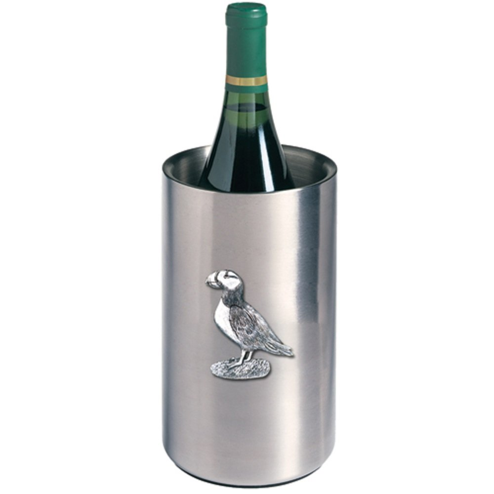 ANIMAL, PUFFIN WINE CHILLER, This is a wine chiller made of double-wall insulated stainless steel with a fine pewter logo medallion bonded to the front.