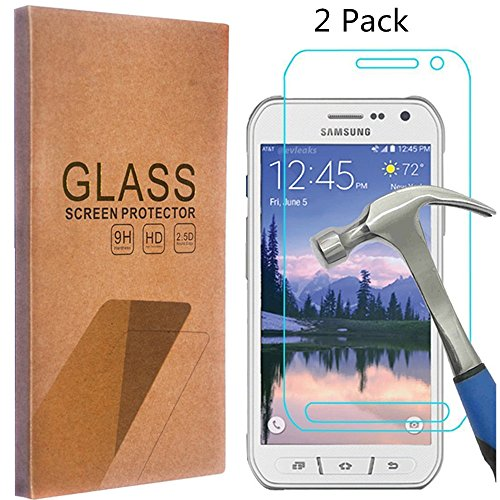 Jeweled Football (MCUK For Samsung Galaxy S6 Active (Not Fit For Galaxy S6) Tempered Glass screen protector [0.3mm Ultra Thin 9H Hardness 2.5D Round Edge] with Lifetime Replacement Warranty (2 PACK))