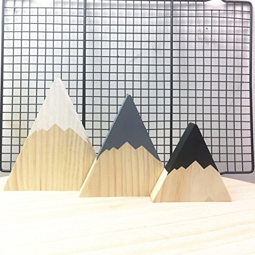 - SODIAL Nordic Top Woodland Wood Mountain Decorative Handmade Kids Bookends Home Decor Wooden Mountain Children's Room Decoration Blocks