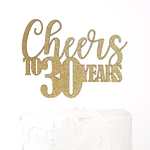 Cheer Chipboard - NANASUKO 30th Birthday Cake Topper - Cheers to 30 years - Premium quality Made in USA, Gold Glitter