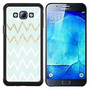 LECELL--Funda protectora / Cubierta / Piel For Samsung Galaxy A8 A8000 -- Líneas Patrón Zig Zaf Blanco Oro --