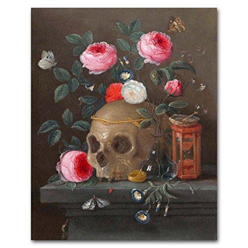 Skull Art, Gothic Wall Decor (Still Life Rose Artwork, 17th Century Painting Print -- 1665
