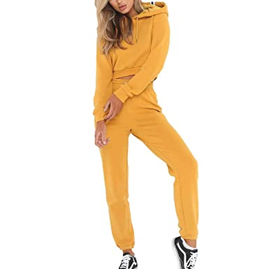 qiansu Conjunto de chándal para Mujer - Sudadera + Pantalones ...