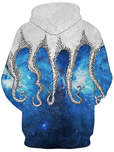 Loveternal Unisex Cappuccio Hoodie Stampa 3d Tasche Pullover Octopus Felpa Con BfBUwSq