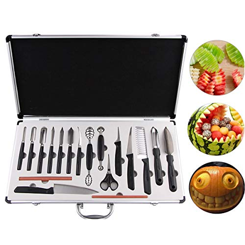 COVVY 18PCS Kitchen Vegetable Food Fruit Cake Carving Knife Set Culinary Carving Peeling Tool Kit/w Portable Carrying Case (Best Cake For Carving)