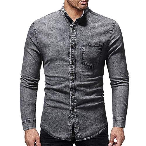 IYFBXl Herren-Shirt - Einfarbiger Hemdkragen