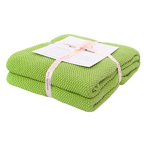 Adory Sweety Throw Blanket Moss Stitch Solid Soft Sofa Couch Decorative Knitted Blanket,50 x 60 inch, As Gift with Free Washing Bag (Grass Green) (Throw Blankets Green)