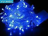 Blue led Strip Lights Christmas 100 LED 33ft / 10m Star Fairy Light String, Waterproof Decorative Light String, 8 Control Modes, Bar Garden Christmas Party Fence