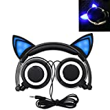 Cat Ear Headphones, Kids Headphones Flashing Blinking Glowing Cosplay Fancy Foldable Over-Ear Gaming Headsets with LED Light for Girls, Children, Compatible for iPhone 6S, Android Phone, PC (Pink)
