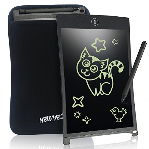 Notepad Summer (LCD Writing Tablet Graphics Tablet - NEWYES NYWT085A - 8.5 Inch Magnetic Board Fridge Office Memo Boards White Board LCD Notepad, Including Sleeve case and Magnet, 30 Days Gaurantee (Black))
