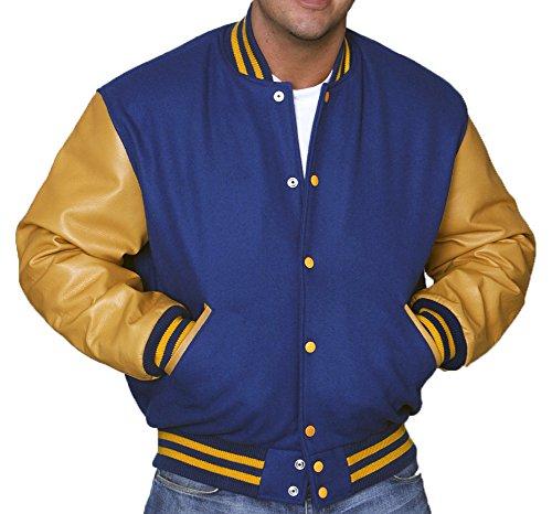 88f67c1d507 C135-L Royal Blue Wool Gold Leather Varsity Jacket Letterman Jacket