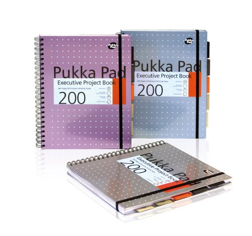 (Pukka Pad, 6970-MET Metallic Executive Project Book A4, Silver/Pink/Blue Pack of 3 )