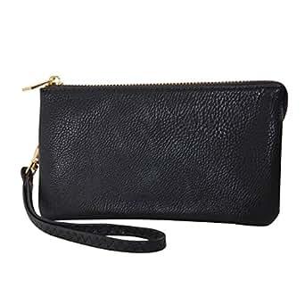 Humble Chic Vegan Leather Wristlet Wallet Clutch Bag - Small Phone Purse Handbag Black