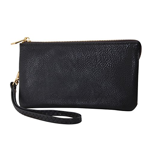 Humble Chic Vegan Leather Wristlet Wallet Clutch Bag - Small Phone Purse Handbag, Black (Faux Leather Wristlet)