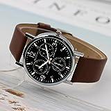 Wrist Watch Men Wrist Quartz Indicator and Brown Leather Strap Three Dials Display Waterproof (Brown)