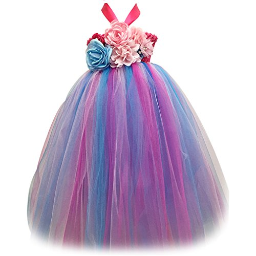 MingAo Flower Girls Dresses Colorful Sleeveless Party Princess Fairy (3-4 Years, multicolor) (Fairy Dress Toddler)