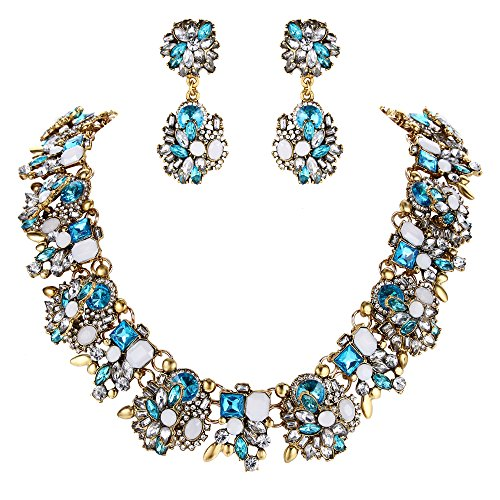 BriLove Statement Necklace Earrings Set for Women Tribal Ethnic Crystal Mix-Shape Cluster Statement Necklace Dangle Earrings Jewelry Set Aquamarine Color Antique-Gold-Toned