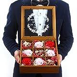 Eternal flower gift box Carnation,Roses,Dried flower glass gift box Creative birthday gifts-E
