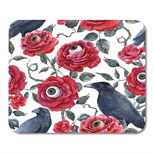 JTNF Mouse Mat, Mouse Pads Blue Watercolor Gothic Halloween Pattern Red Roses with Eyeballs and Black Raven Thorns and Leaves Green Mouse mats Mouse pad Suitable for Notebook Desktop Computers ()
