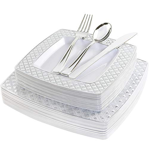 WDF 125PCS Silver Plastic Plates with Disposable Plastic Silverware,Diamond Square Plastic Tableware include 25 Dinner Plates,25 Salad Plates,25 Forks, 25 Knives, 25 Spoons - Salad Fork Diamond