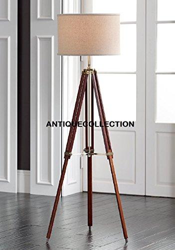 Designer's Cherry Finish Wood Adjustable Tripod Floor Lamp