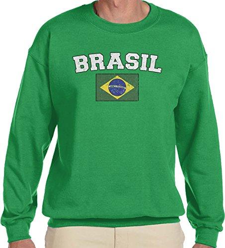 Amdesco Men's Flag Of Brasil, Faded Brasilian Flag Crewneck Sweatshirt, Kelly Green (Blank Flag Sweatshirt)