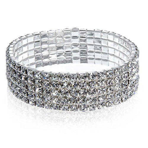 PammyJ Five Row Clear Crystal Silvertone Stretch Bracelet