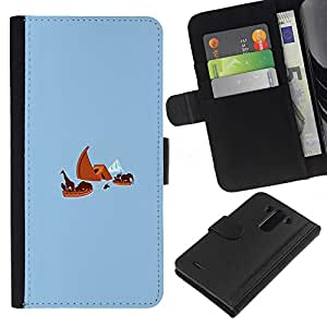 LG G3 - Dibujo PU billetera de cuero Funda Case Caso de la piel de la bolsa protectora Para (Noah'S Ark Titanic - Funny)
