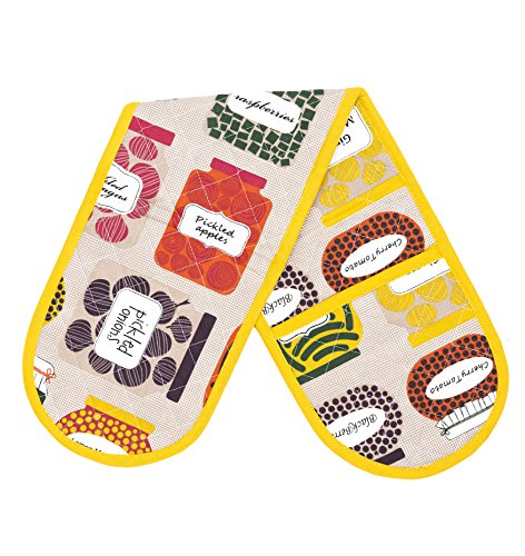 Thread Spread 100% Cotton Double Oven Glove/Mitt, 7.5 - inch by 35 - inch Designed in France Confiture - Oven Double Glove