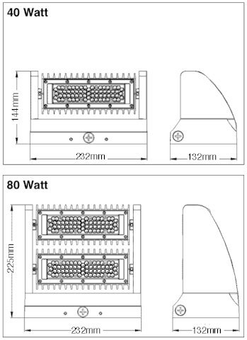 EZ40 Adjustable Tilt Head LED Wall Pack, 80W, 130 Lumens/W, 5 Year Warranty by LED Waves (Image #4)