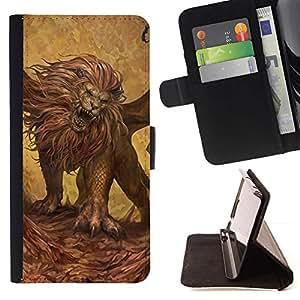 Momo Phone Case / Flip Funda de Cuero Case Cover - Pintura animal León que ruge arte salvaje del gato grande - Samsung Galaxy A3