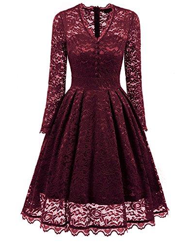 ALAGIRLS Women Vintage Short Floral Lace V Neck Long Sleeve Flare Cocktail Party Swing Dress Burgundy L