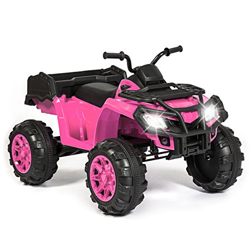 - Best Choice Products 12V Kids Powered Large ATV Quad 4-Wheeler Ride-On Car w/ 2 Speeds, Spring Suspension, MP3, Lights, Storage - Pink