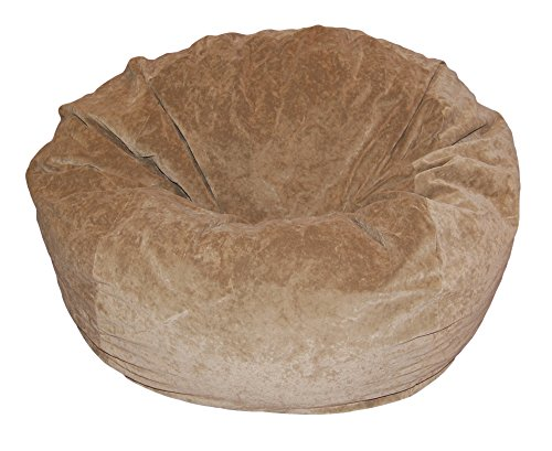 Ahh! Products Tan Velvet Microsuede Washable Large Bean Bag Chair Plush by Ahh! Products